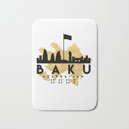 BAKU AZERBAIJAN SILHOUETTE SKYLINE MAP ART Bath Mat