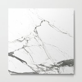 Marble Black & White Metal Print