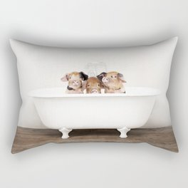 3 Little Pigs in a Vintage Bathtub (c) Rectangular Pillow