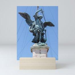 St Michael statue on top of Castel Sant'Angelo in Rome Mini Art Print