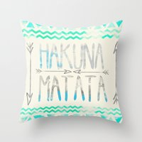 hakuna Throw Pillows featuring Hakuna Matata by Sara Eshak