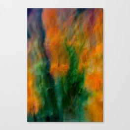 Fleur Blur-Abstract Orange Safflowers & Green Leaves Canvas Print