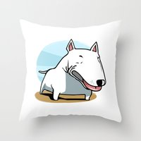 bull terrier Throw Pillows featuring Bull Terrier by Jaume Tenes