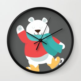 Polar Bear Go Skiing for Merry Christmas Wall Clock