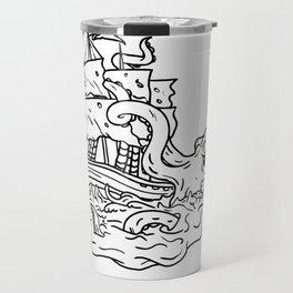 Kraken Attacking Sailing Ship Doodle Art Travel Mug