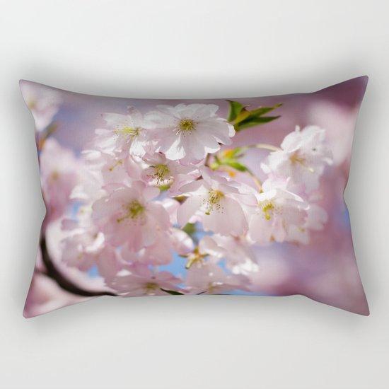 Pastel Pink flower blossom branch Rectangular Pillow