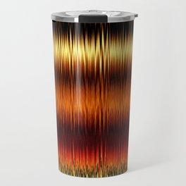 Autumnal Gold Stripes Abstract Travel Mug