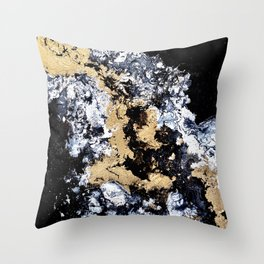 Gold Abstract Painting Throw Pillow