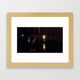 Wine glass and candle Framed Art Print