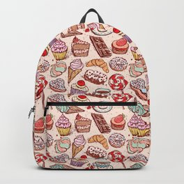Hand drawn confectionery croissant Cupcake candy ice cream cake donut and coffee Backpack