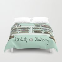 british Duvet Covers featuring British Bakery by Hayley Bowerman Design
