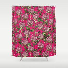 Red clover pattern Shower Curtain
