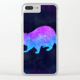 RACCOON IN SPACE // Animal Graphic Art // Watercolor Canvas Painting // Modern Minimal Cute Clear iPhone Case