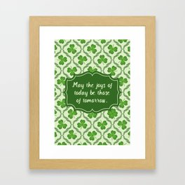 Irish Blessing Shamrocks Pattern Framed Art Print