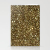 gold glitter Stationery Cards featuring Gold Glitter by NatalieBoBatalie