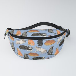 cats cats cats on light blue Fanny Pack