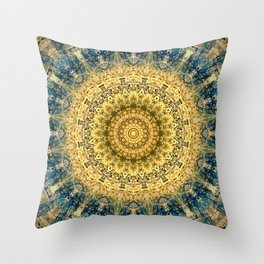 Antique Gold Blue Mandala Design Throw Pillow