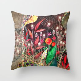 Nighttime Garden Throw Pillow