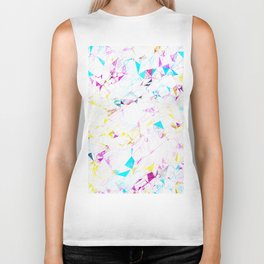 psychedelic geometric triangle polygon pattern abstract background in pink blue yellow Biker Tank