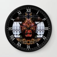 animal crew Wall Clocks featuring Animal by Zandonai