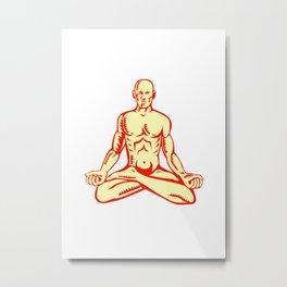 Man Lotus Position Asana Woodcut Metal Print