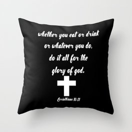 Corinthians Bible Quote About Food Throw Pillow