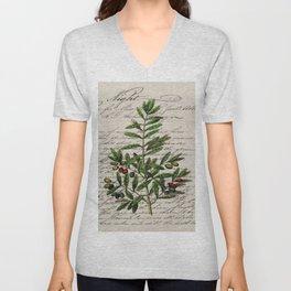 Chic paris scripts kitchen artwork french botanical leaf olive Unisex V-Neck