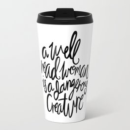Well Read Woman - Black Lettering Travel Mug