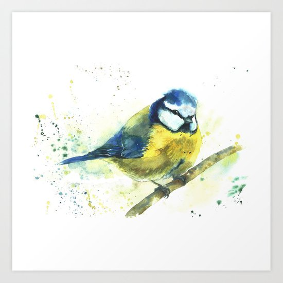 Watercolor titmouse bird Art Print