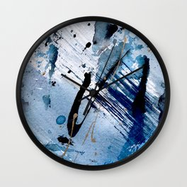 Breathe [2]: colorful abstract in black, blue, purple, gold and white Wall Clock