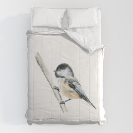 """Chicka-dee-dee-dee"" a painting of a Chickadee by Teresa Thompson Comforters"