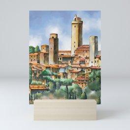 San Gimignano watercolor Mini Art Print