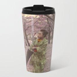 Geisha among Cherry Blossom trees Metal Travel Mug