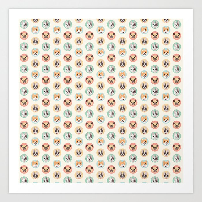 Circle Pup Pattern Art Print