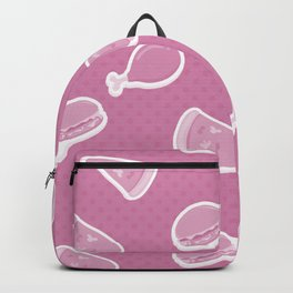 Pizza Burgers and Fried Chicken Picnic Time on Pink Backpack