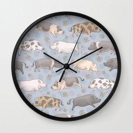 Mini Pig Parade - Blue Wall Clock