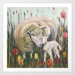 Mama Sheep and baby lamb, I'll stand by Ewe, field of tulips, whimsical nature art Art Print