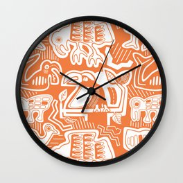 Molas Molas | Orange Tropical Pattern Wall Clock