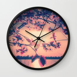 To Love and Be Loved (Spring Pink Cherry Blossoms at Dusk) Wall Clock