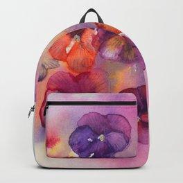 Spring watercolor flowers art colorful pansies Backpack