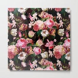 Vintage & Shabby Chic - Midnight Rose Garden Metal Print
