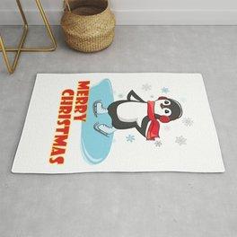 Merry Christmas - Ice Skating Penguin Rug