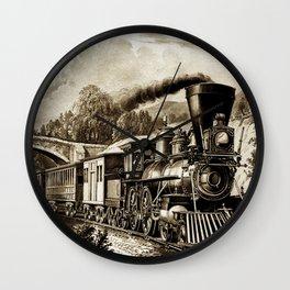 Vintage steam train illustration Wall Clock