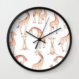 Tan Giraffes Wall Clock