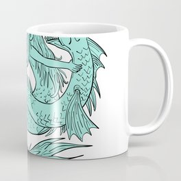 Mermaid Grappling With Sea Serpent Drawing Color Coffee Mug