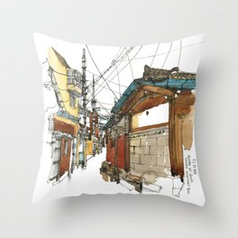 vintige city-seoul Throw Pillow