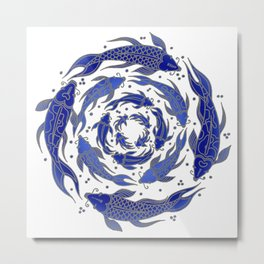 Fish Flow in Blues Metal Print
