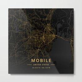 Mobile, United States - Gold Metal Print