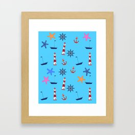 Nautical Beach Pattern Framed Art Print