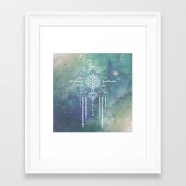 Mandala Flower of Life in Turquoise Stars Framed Art Print